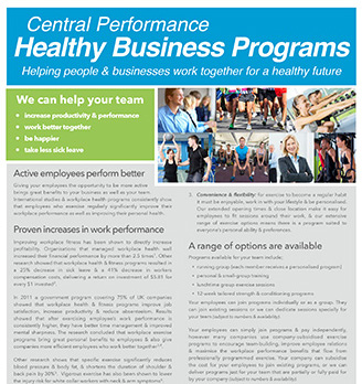 Corporate fitness & exercise programs with Central Performance in Surry Hills